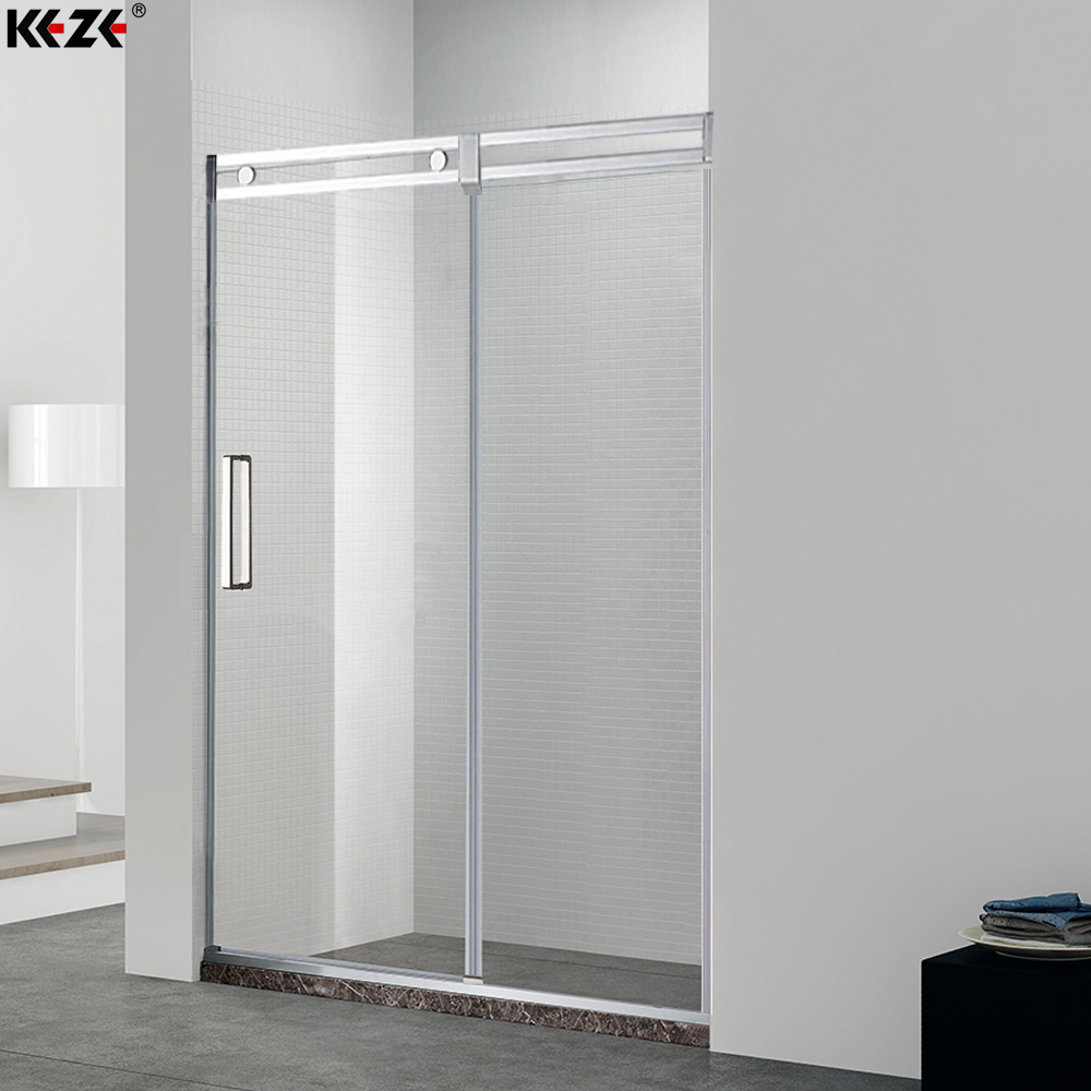 Semi frameless shower wheels sliding door | KEZE China manufacturer